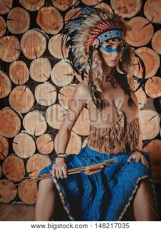 Beautiful Girl With Painted Face In The National Indian Suit Wit