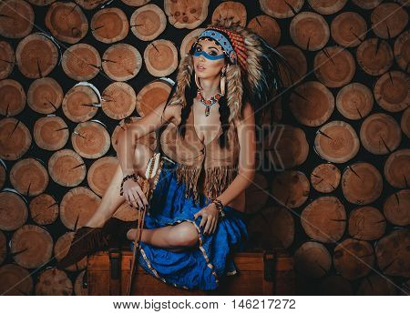 Full Body Beautiful Girl With Painted Face In The National India