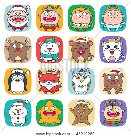 Cute Flat Christmas Characters Vol.1