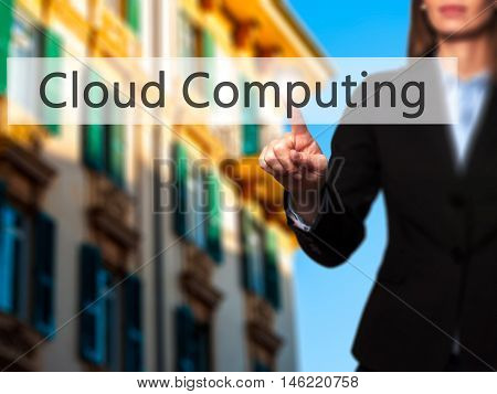 Cloud Computing - Isolated Female Hand Touching Or Pointing To Button