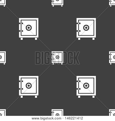 Safe Money Icon Sign. Seamless Pattern On A Gray Background. Vector