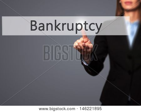 Bankruptcy - Isolated Female Hand Touching Or Pointing To Button