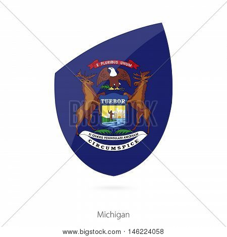 Flag of Michigan in the style of Rugby icon. Vector Illustration.
