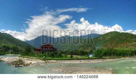 Punakha Dzong the old capital of Bhutan at the confluence of Pho Chu and Mo Chu rivers