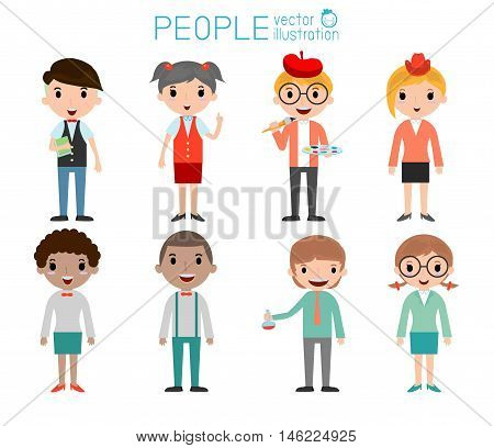 Set of diverse college or university students isolated on white background. Set of full body diverse university students . Different nationalities and dress styles. people character cartoon concept.