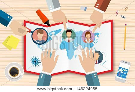 Human resources management concept, searching professional staff, work, hq, hard choice between people, world map, pen, coffee cup. vector illustration in flat design on wooden background