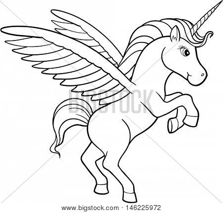 Cute Doodle Unicorn Vector Illustration Art