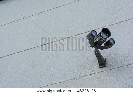 High Technology Security Camera Installed Building Wall