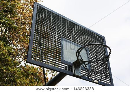 Metal Outdoors Park Basketball Court Backboard Net Chain Isolated