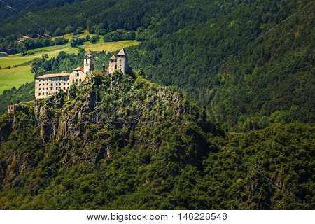 Amazing view of Sabiona Castle in Chiusa (Klausen) Northern Italy