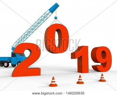 Twenty Nineteen Means 2019 New Year 3D Rendering