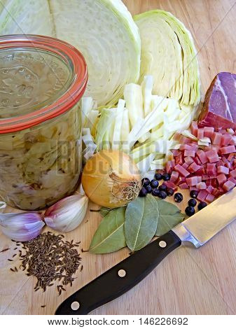 Ingredients for Bavarian Cabbage, a ribald austrian specialty