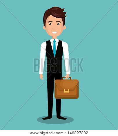 cartoon man executive business briefcase isolated vectorillustration esp 10