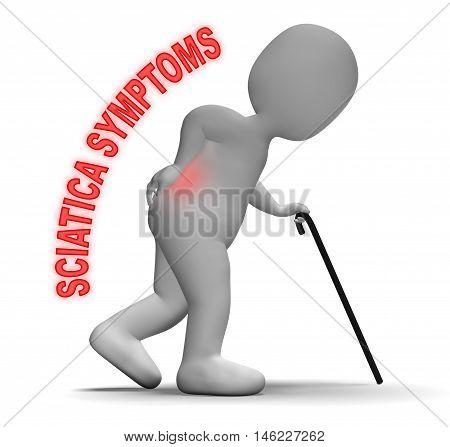 Sciatica Symptoms Character Represents Backache Problems 3D Rendering