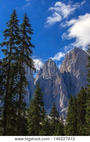 Amazing Dolomites near Santa Magdalena. Adolf Munkel Trail in Mountains of Northern Italy