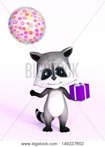 A cartoon raccoon looking really cute and holding a birthday gift in one hand and a balloon in the other 3D rendering. Pink background.