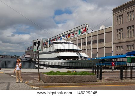 Boston,Massachussetts,USA - July 14,2016:Tourist ship in harbor. Boston tourism annually brings about 8 billion dollars
