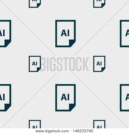 File Ai Icon Sign. Seamless Pattern With Geometric Texture. Vector