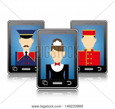 Smartphone maid bellboy and hotel apps icon set. Service technology media and digital theme. Colorful design. Vector illustration