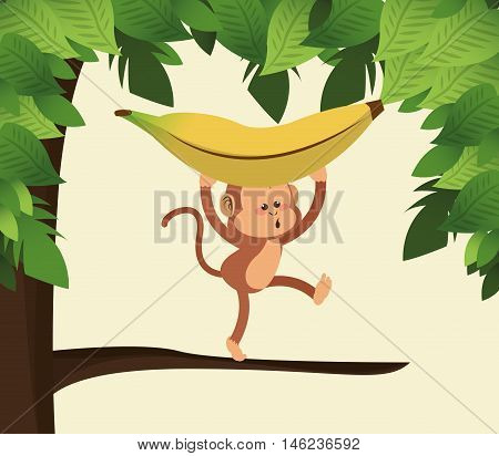 flat design jungle monkey and banana cartoon vector illustration