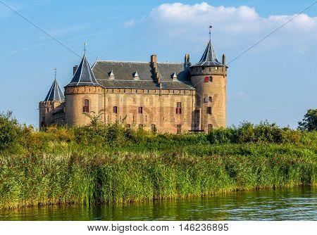 Castle Muiden the Netherlands - September 07 2016: well preserved Castle Muiden