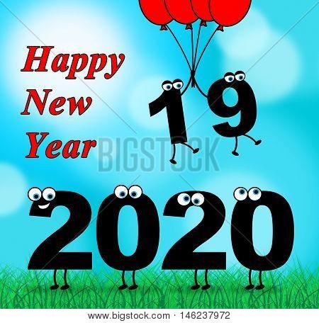 Two Thousand Twenty Indicates 2020 New Year 3D Illustration