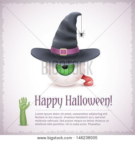 Happy Halloween card with a witch green eye in hat. Fine holiday vector illustration with text example.