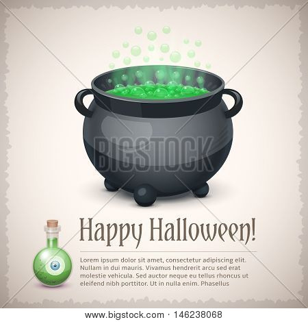 Happy Halloween card with a boiling witch cauldron. Very nice holiday vector illustration with text example.