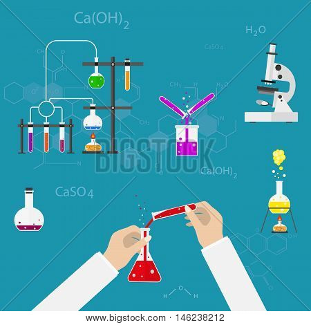 Chemists scientists equipment. flat design workspace concept. Chemistry and physics biology infographic icons. Laboratory lab with alembic vial hourglass dropper vector illustration