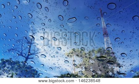 the raindrops on window in nature background
