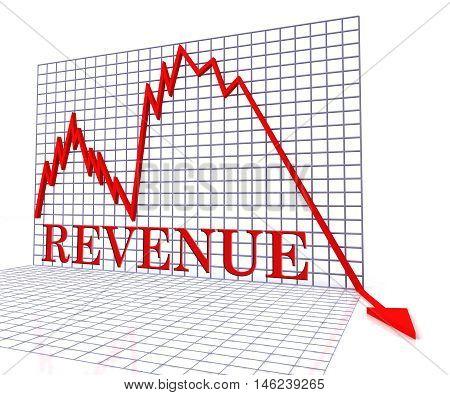 Revenue Graph Negative Represents Income Down 3D Rendering