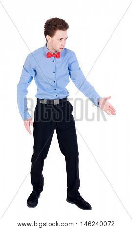 Referee suit and tie butterfly separates boxers. Businessman holds out his hand in greeting.