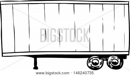 Outlined Parked Cargo Shipping Trailer