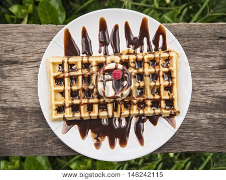 Waffle with Chocolate Sauce Ice Cream and Raspberries.