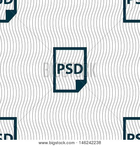 Psd Icon Sign. Seamless Pattern With Geometric Texture. Vector