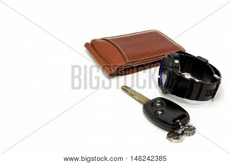 Flat lay shot of Men fashion. Men accessories. Men , wallet, watch,car key on white background
