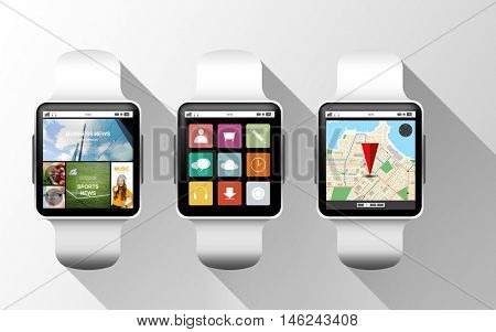modern technology, object and media concept - close up of black smart watches with applications on screen over gray background