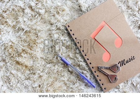 Notebook with pen and key on brown shaggy carpet
