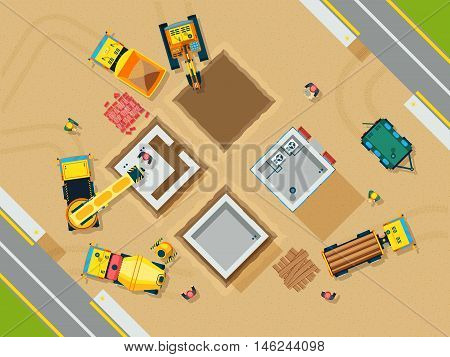 Construction and building top view with tools and machines flat vector illustration