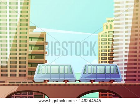 Miami downtown cartoon composition with two wagons of suspended monorail on front and skyline background flat vector illustration