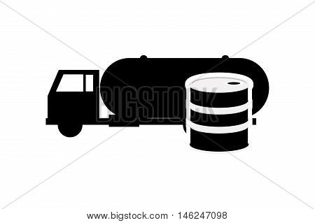 flat design cistern truck and oil barrel icon vector illustration