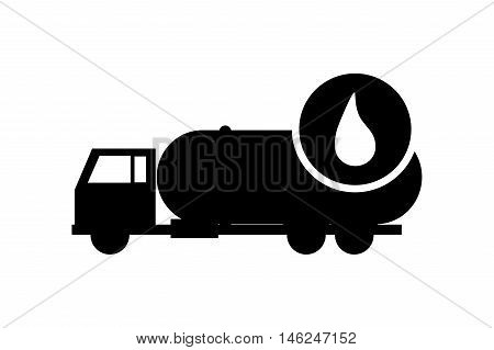 flat design cistern truck and droplet icon vector illustration