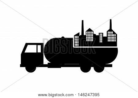 flat design cistern truck and factory icon vector illustration