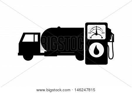 flat design cistern truck and fuel dispenser icon vector illustration
