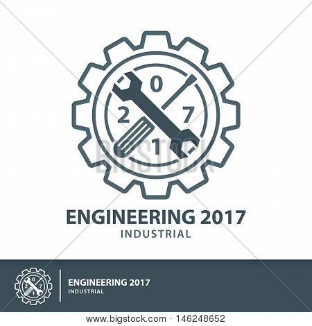 Engineering 2017 industrial symbol icon. Vector illustration Logo flat and line template design