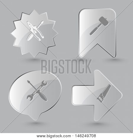 4 images: screwdriver and combination pliers, mallet, screwdriver and spanner, saw. Industrial tools set. Glass buttons on gray background. Vector icons.
