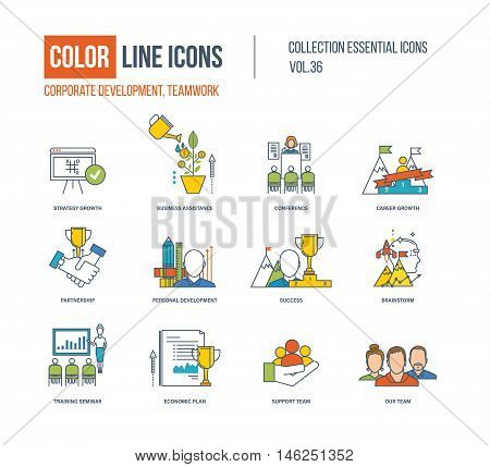 Color Line icons collection. Corporate development, teamwork concept. Strategy growth, business assistance, career growth, partnership, development, brainstorm, training seminar support team