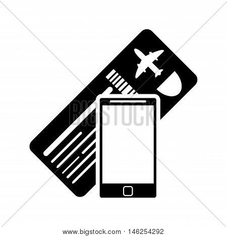 flat design boarding pass or ticket and cellphone  icon vector illustration