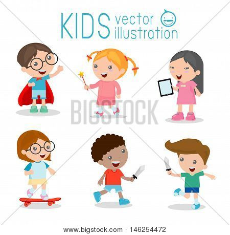happy cartoon kids playing, Kids playing on white background , Skating, Superhero kid, tablet, Cute little Angel, Play Fencing,Vector illustration