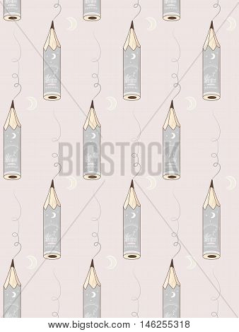 Writing pencils on pink background. Vector pattern illustration.